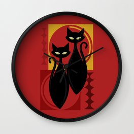 Devilishly Delightful Atomic Age Black Kitschy Cats Wall Clock