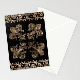 Fleur-de-lis - Black and Gold #2 Stationery Cards