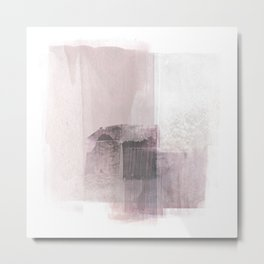 Blush Pink Square Minimalist Abstract Painting Metal Print