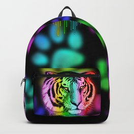 Tiger Neon Dripping Rainbow Colors Backpack
