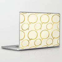 gold foil Laptop & iPad Skins featuring Cream Gold Foil 01 by Aloke Design