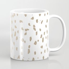 Luxe Gold Painted Polka Dot on White Coffee Mug