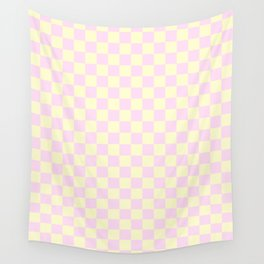 Cream Yellow and Pink Lace Checkerboard Wall Tapestry