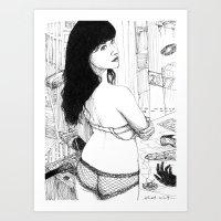cyberpunk Art Prints featuring Cyberpunk girl  by Albert Wint