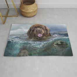 Majestic Newfoundland Dog Swimming Ultra HD Rug