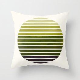 Olive Green Mid Century Modern Minimalist Scandinavian Colorful Stripes Geometric Pattern Round Circ Throw Pillow