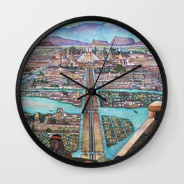 Mural of the Aztec city of Tenochtitlan by Diego Rivera Wall Clock