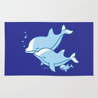 dolphins Area & Throw Rugs featuring Dolphins by joanfriends