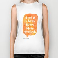 neil gaiman Biker Tanks featuring Mango, Neil Gaiman, quotes, inspirational art, bookish by Roarr