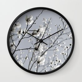 White Blossoms 2 Wall Clock