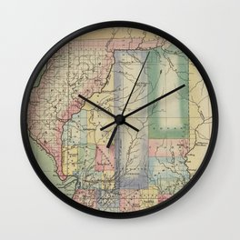 Vintage Map of Illinois (1823) Wall Clock