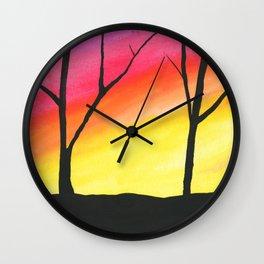 Brilliant Sky, Dark Trees Wall Clock
