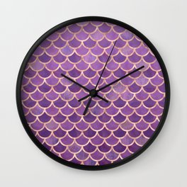 Mermaid Scales Pattern in Purple and Rose Gold Wall Clock
