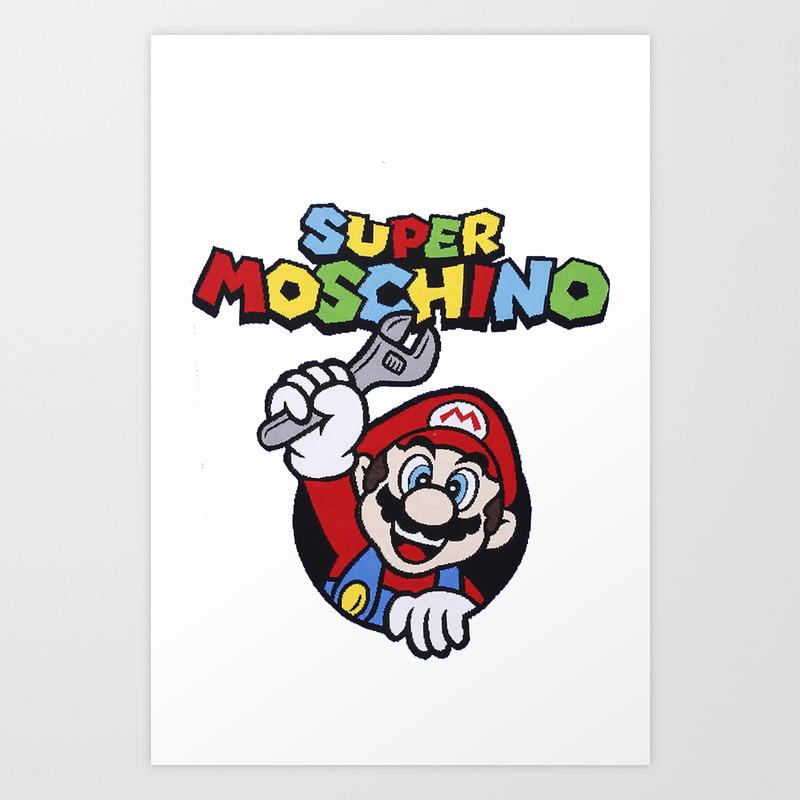 Super Mario Bros Nintendo Moschino Art Print By Claudiovelzquez