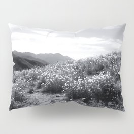 poppy flower field with mountain and cloudy sky in black and white Pillow Sham