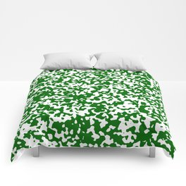 Small Spots - White and Dark Green Comforters