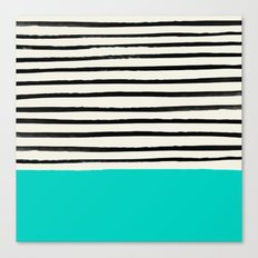 Aqua & Stripes Canvas Print