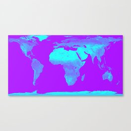 World Map Turquoise & Purple Canvas Print