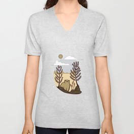 Cute Bear in the Forest Unisex V-Neck