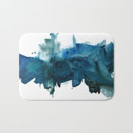 Change: A minimal abstract acrylic painting in blue and green by Alyssa Hamilton Art Bath Mat