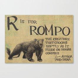 Alphabestiary R - Rompo Canvas Print