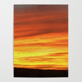 The Sky is on Fire - Deep Red in Oils Poster