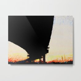 Highway Overpass and Houston Sunset - Painting Metal Print