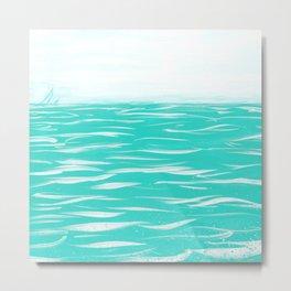 Sailing Across A Turquoise Sea Metal Print