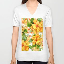 Yellow Hibiscus Tropical Continuous Floral Pattern Unisex V-Neck