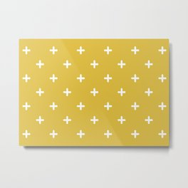 White Crosses on Gold Background Metal Print