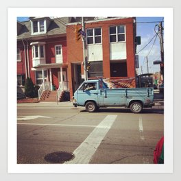 blue van in the city Art Print