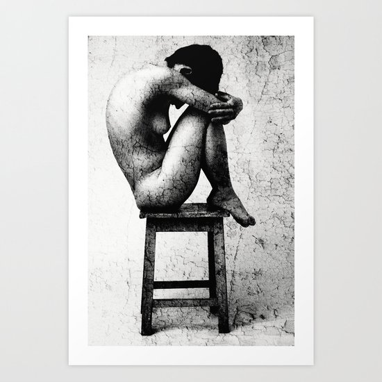 Lonely - Naked Art Photography in Black and White Art Print