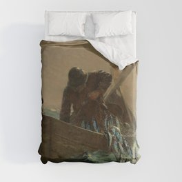 The Herring Net - George's Bank, New England maritime landscape by Winslow H-o-m-e-r Duvet Cover
