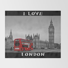 Black and White London with Red Bus Throw Blanket