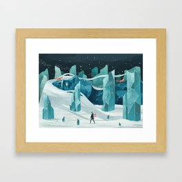 The wanderer and the ice forest Framed Art Print