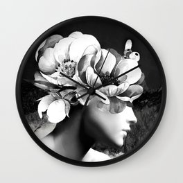 Floral Portrait-black and white Wall Clock