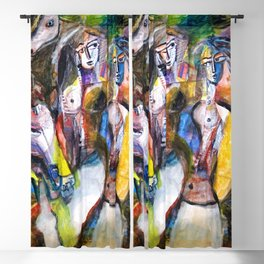 Two Woman and Horses, nude figurative portrait painting Blackout Curtain