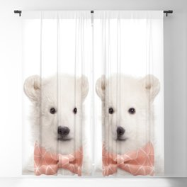 Baby Polar Bear With Bow Tie, Baby Animals Art Print By Synplus Blackout Curtain