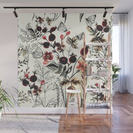 Watercolor autum berries and foliage Wall Mural