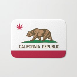 California Republic state flag with red Cannabis leaf Bath Mat