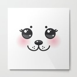 Kawaii funny albino animal white muzzle with pink cheeks and big black eyes Metal Print