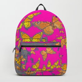 FUCHSIA PINK & GREY BUTTERFLY ABSTRACT ART Backpack