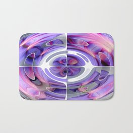 Abstract Morning Glory Fish Eye Collage Bath Mat