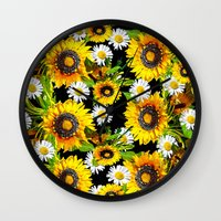 sunflowers Wall Clocks featuring Sunflowers by Saundra Myles