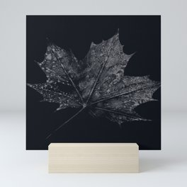 Black Autumn Leaf Mini Art Print