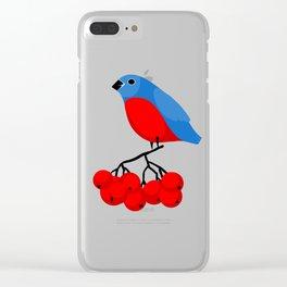 Bullfinch on the bunch of rowan Clear iPhone Case