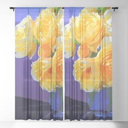 Flamboyant Rose Sheer Curtain