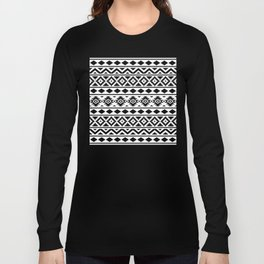 Aztec Essence Ptn III Black on White Long Sleeve T-shirt