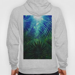 Blue Aloha - Morning Light abstract Tropical Palm Leaves and Monstera Leaf Garden Hoody