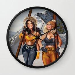 """Ski Bunnies"" Cool Retro Winter Pinup Girl Art Wall Clock"